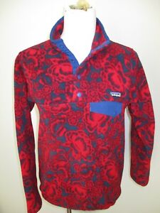 Patagonia Synchilla Snap-T Women's Fleece Pullover Jacket Size S Floral Red Blue