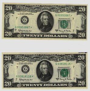 Pair of 1963-A $20 Twenty Dollar Federal Reserve STAR Notes Grading Crisp CU