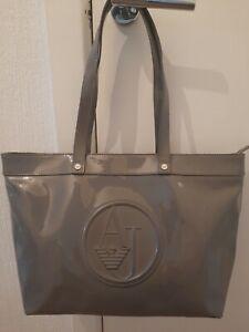 ARMANI JEANS Grey Large PVC Patent Shopper Shoulder Bag