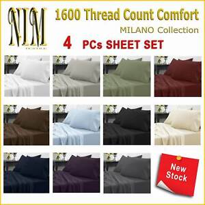 Luxury Soft 4pcs Fitted SHEET SET DOUBLE QUEEN KING SUPER KING 40cm Pocket