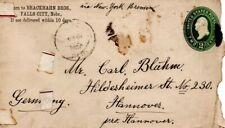 1889 2 c. Ps cover Falls City, Nebraska, Usa to Hanover, Germany