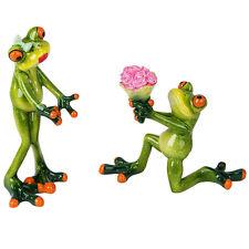 Formano Froschpaar Paar Set Blumen Antrag gras grün Kunststein Stein 16 cm NEU