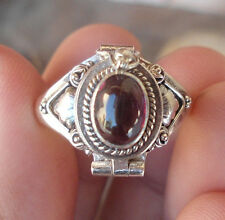 925 Sterling Silver Balinese Poison Box Ring With Garnet Cab Size 9-Am01