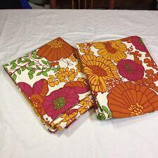 "2 Curtain Panels Pier 1 Imports 52"" x 84"" Orange Pink Floral"
