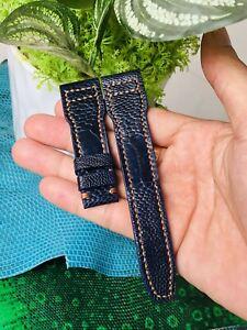 22mm/18mm GENUINE Dark Blue OSTRICH Leg LEATHER Skin WATCH STRAP BAND # K12