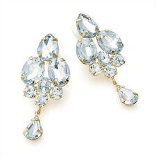 Ladies Shiny Gold Colour With Silver Crystal Beads 5cm Stud Earrings