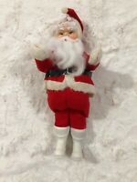 "Vintage 60s Christmas 10"" Standing Santa Claus Red Felt Plastic White boot JAPAN"