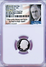 2020 S Proof 10C Silver Dime NGC PF70 UCAMEO in 10-coin-set Roosevelt label ER