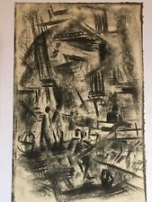 Old Abstract Surreal Cubist Charcoal Modernist Original Pencil Drawing Modern