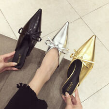 Women Pointed Toe Kitten Heels Slip On Slippers Knot Solid Mules Fashion Shoes