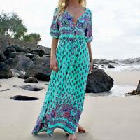 Women BOHO Floral Print Beach Dress Lady Evening Party Long Sleeve Maxi Dress