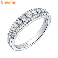 Newshe Eternity Ring Wedding Band For Women Round White Cz Sterling Silver 5-12