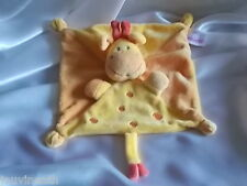Doudou girafe, jaune,orange, plat, Pommette