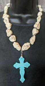 Western Stone Necklace Statement Rodeo Cowgirl White Nuggets Turquoise Cross