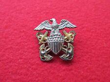US NAVY overseas hat badge  * HILBORN & HAMBURGER * STERLING & 1/20 10K GOLD #5