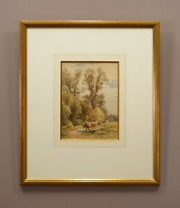 Cows in a Landscape | Signed Original 19th Century Watercolour Painting