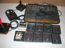 Atari 2600 Wood Grain 6 Switch Game Console Bundle with Games,3 Joysticks No PSU