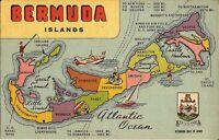 BERMUDA - Map Postcard - LINEN - 1951