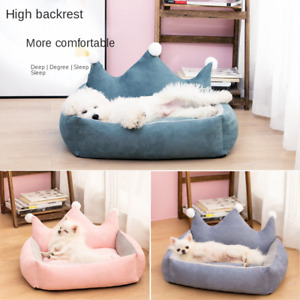 Winter Warm Luxurious Crown Dog Priness Beds for Small large Dogs Poodle Cussion