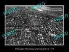 OLD LARGE HISTORIC PHOTO OF WILLIAMSPORT PENNSYLVANIA, AERIAL VIEW OF CITY c1935