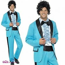 80s Prom King Costume, Blue, with Jacket, Trousers and Mock Tuxedo .. COST-M NEW