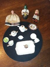 various vintage miniatures, 2xdolls ,wooden figure ,china teaset, limoges plate
