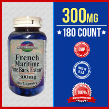 French Maritime Pine Bark Extract Potent 300mg 180 Caps  90% Polyphenols USA