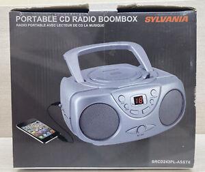 Sylvania SRCD243PL ASST6 Silver CD Radio Boombox w/ AM/FM Radio New