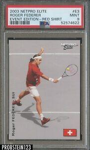 2003 Netpro Elite Tennis Event Edition #E3 Roger Federer Red Shirt RC PSA 9