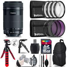Canon 55-250mm IS STM + MACRO, UV-CPL-FLD Filter + Tripod - 16GB Accessory Kit