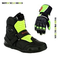 Mens Motorcycle Motocross Boots Touring Leather Boots & Motorbike Riding Gloves