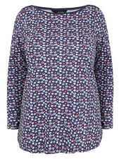 EX YOURS LADIES PLUS SIZE NAVY FLORAL COTTON TOP SIZES 16-36 ONLY  FREE P&P