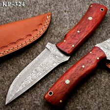 KP-324 Custom Hand forged Damascus Steel Hunting Knife with Red Padauk Handle