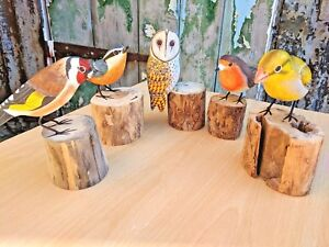 Hand Carved Painted Goldfinch Greenfinch Barn Owl Birds Wood Log Figure Ornament
