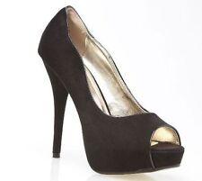 HIGH HEELS Platform Round Open Toe Manmade Suede Patent Beige Nude Heel Shoes