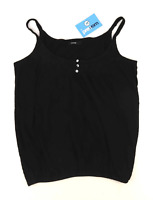 George Womens Size 12 Textured Cotton Strappy Black Camisole (Regular)