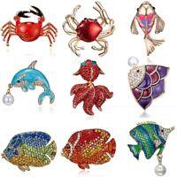 Charm Pearl Crystal Rhinestone Fish Goldfish Brooch Pin Womens Fashion Jewellery