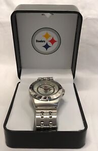 Pittsburgh Steelers Game Time Stainless Steel Logo Watch New Battery NOS