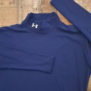 Under Armour Compression Shirt Mens XL Extra Large Blue Long Sleeve Mock Neck