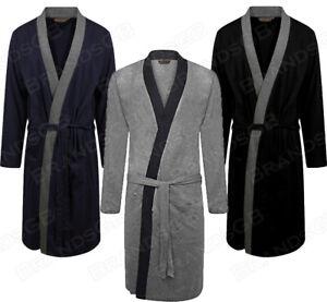 MEN'S DRESSING GOWN 100% COTTON LIGHTWEIGHT JERSEY KIMONO ROBE WRAP SIZES M-3XL