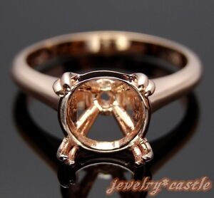 10K ROSE GOLD SOLITAIRE RING SEMI MOUNT 9MM ROUND RING ENGAGEMENT WOMEN'S RING