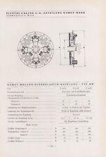 SCHWEINFURT, Typentafel 1935, Fichtel & Sachs AG Komet-Werk Komet-Mecano-Superel