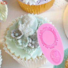 Cameo Mirror Frame Silicone Fondant Mold Cake Decor Chocolate Baking Mould Tool