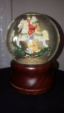 music box snow globe SANTA ON ROCKING HORSE