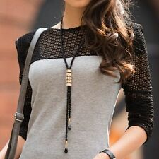 Black Seed Beads Long Necklace Crystal Long Pendant Statement Sweater Chain