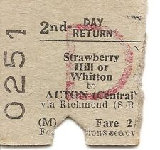 B.T.C. Edmondson Ticket - Strawberry Hill or Whitton to Acton Central