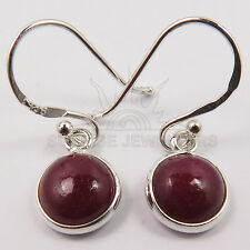 Dyed RUBY Round Gemstones 925 Solid Sterling Silver Girls Cute Little Earrings