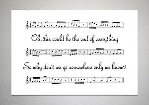Keane - Somewhere Only We Know - Song Sheet Print Poster Art