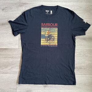 Barbour International Steve McQueen T Shirt Size XL Mens Navy Blue Top