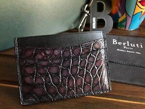NEW! Berluti Bambou Alligator Leather Card Holder